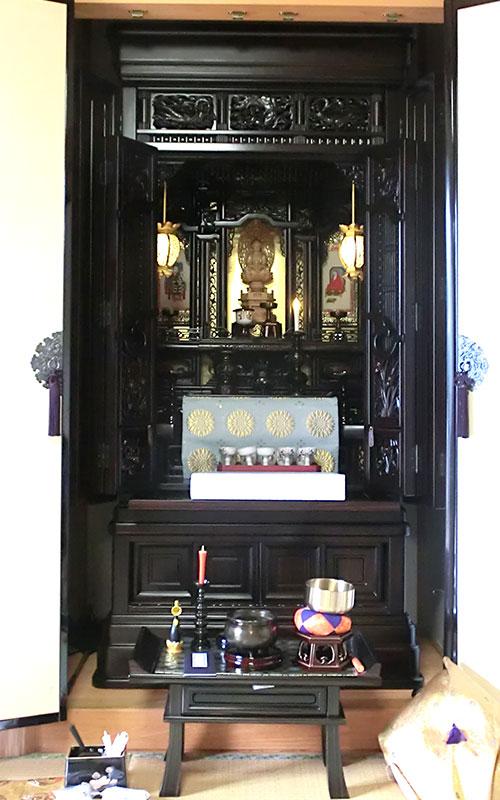 唐木仏壇 25号 黒檀 四方練り 宮殿造り